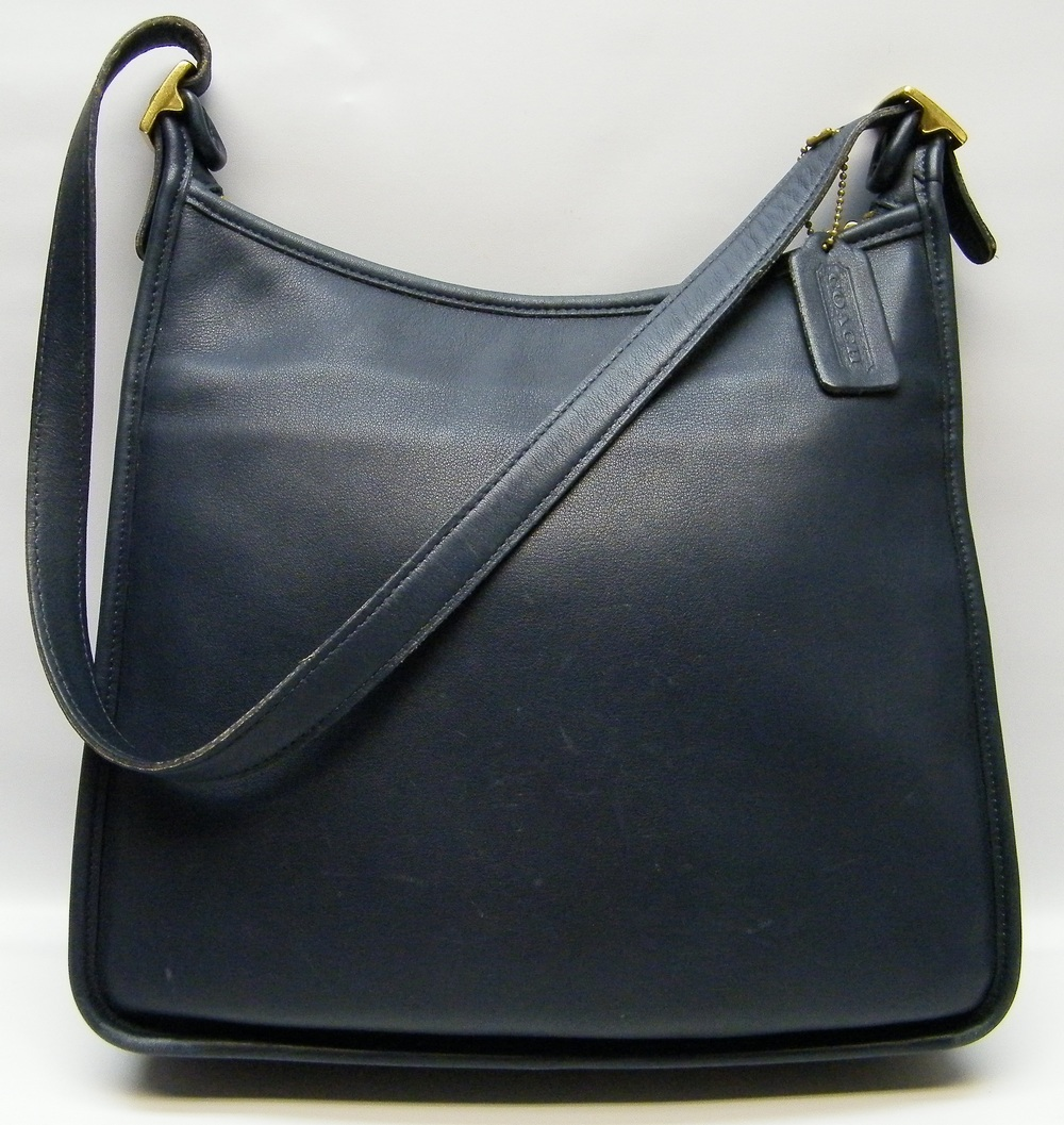 Coach Andrea Slim Navy Blue Large Leather Handbag Hand Shoulder Bag