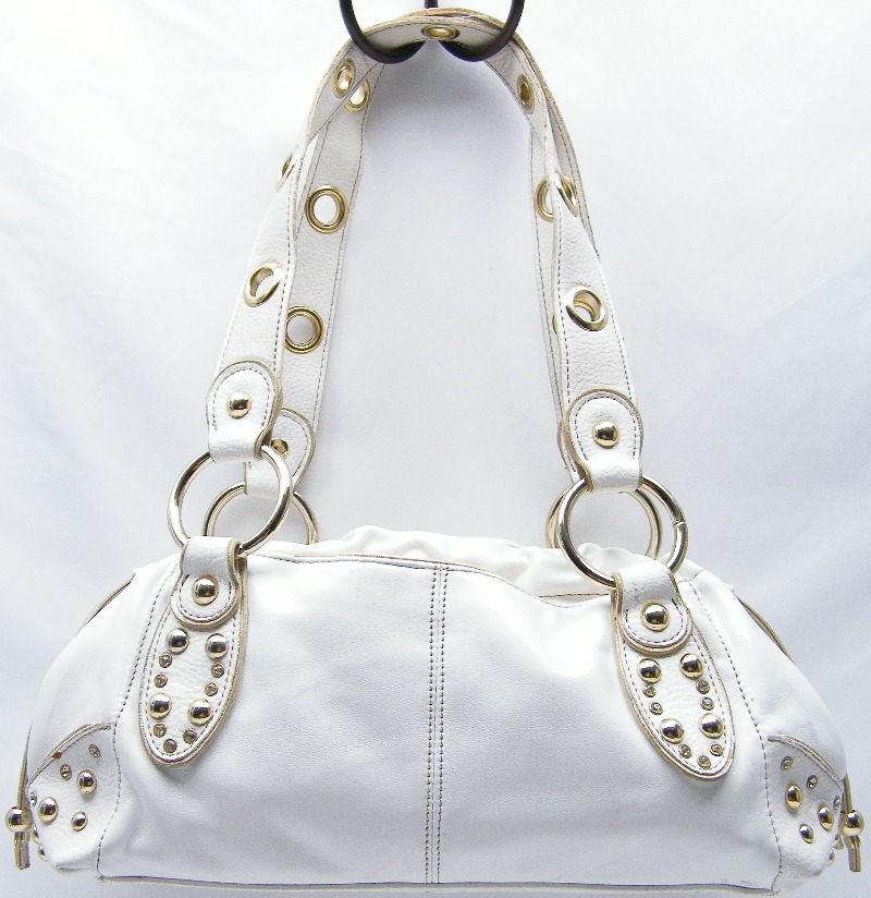Kathy Van Zeeland Gold Studded Tote Purse Bag White 18