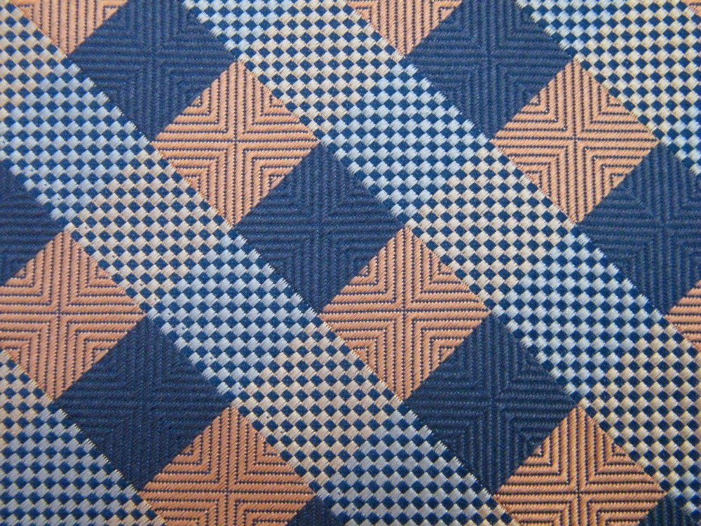 ROBERTO VILLINI CHECKER STRIPE STEEL BLUE PINK WHITE SILK NECK TIE NECKTIE