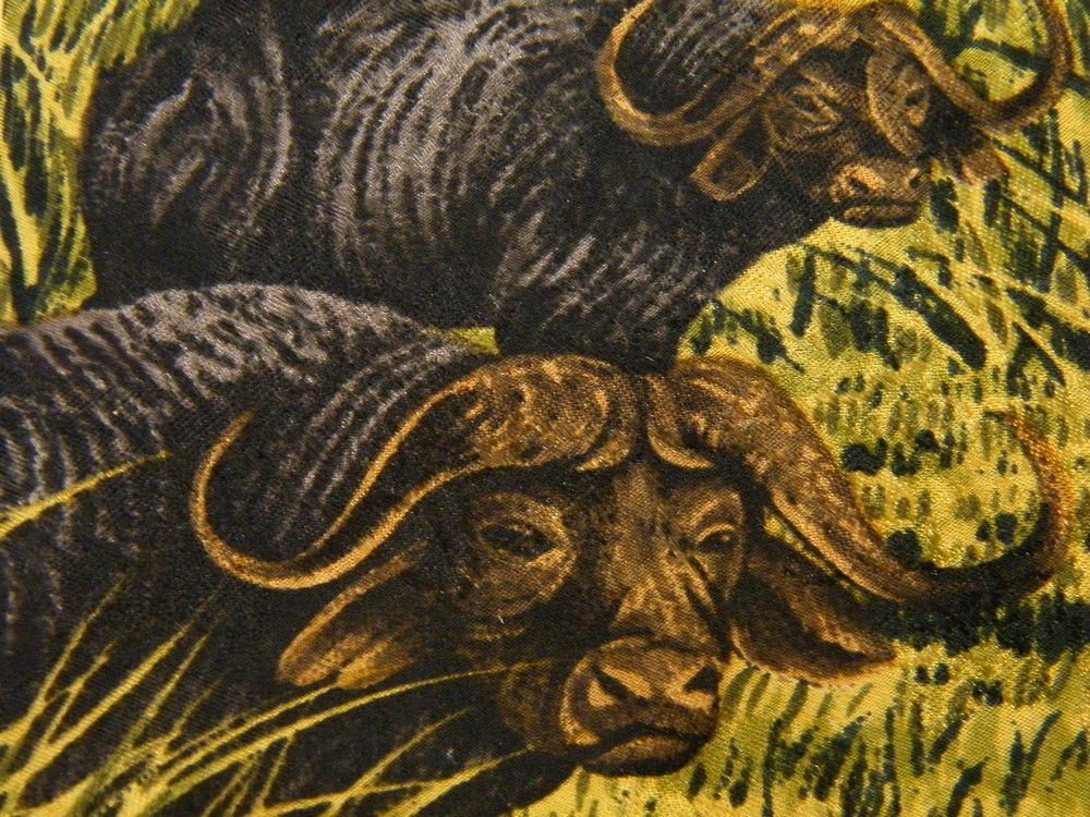 ENDANGERED SPECIES SERENGETI BUFFALO BISON STORMY DAY BLUE SILK NECK TIE NECKTIE