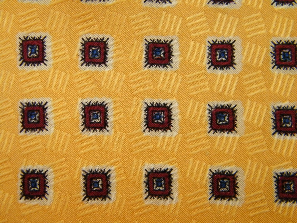 POLO RALPH LAUREN FRAMED FLOWER SQUARES CHECKER YELLOW RED SILK NECK TIE NECKTIE