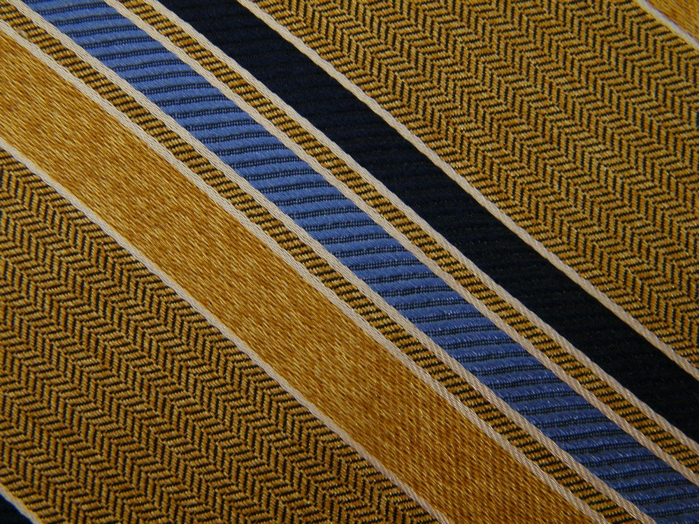 XL LONG JOSEPH A BANK SIGNATURE FRAMED STRIPE GOLD BLUE SILK NECK TIE NECKTIE