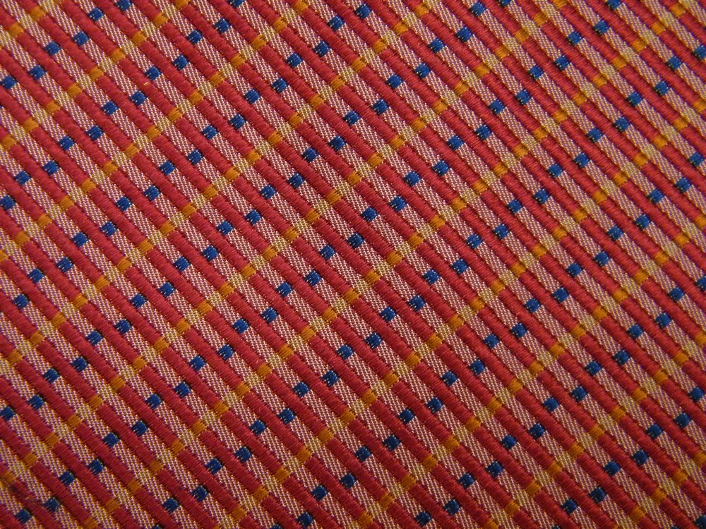 HAROLD POWELL STRIPE CHECKER RED YELLOW GOLD BLUE SILK NECK TIE NECKTIE