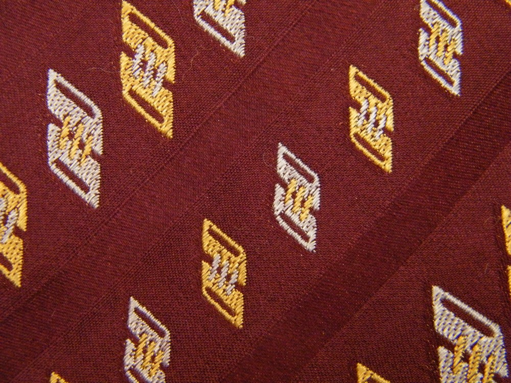 ROBERT TALBOTT TILTED SQUARES STRIPE DARK RED GOLD SILVER SILK NECK TIE NECKTIE