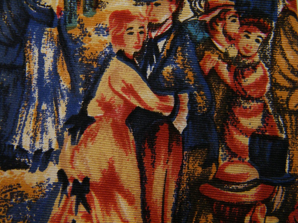 LANDS END BAL DU MOULIN DE LA GALETTE DANCE RENOIR PAINTING ART SILK NECK TIE