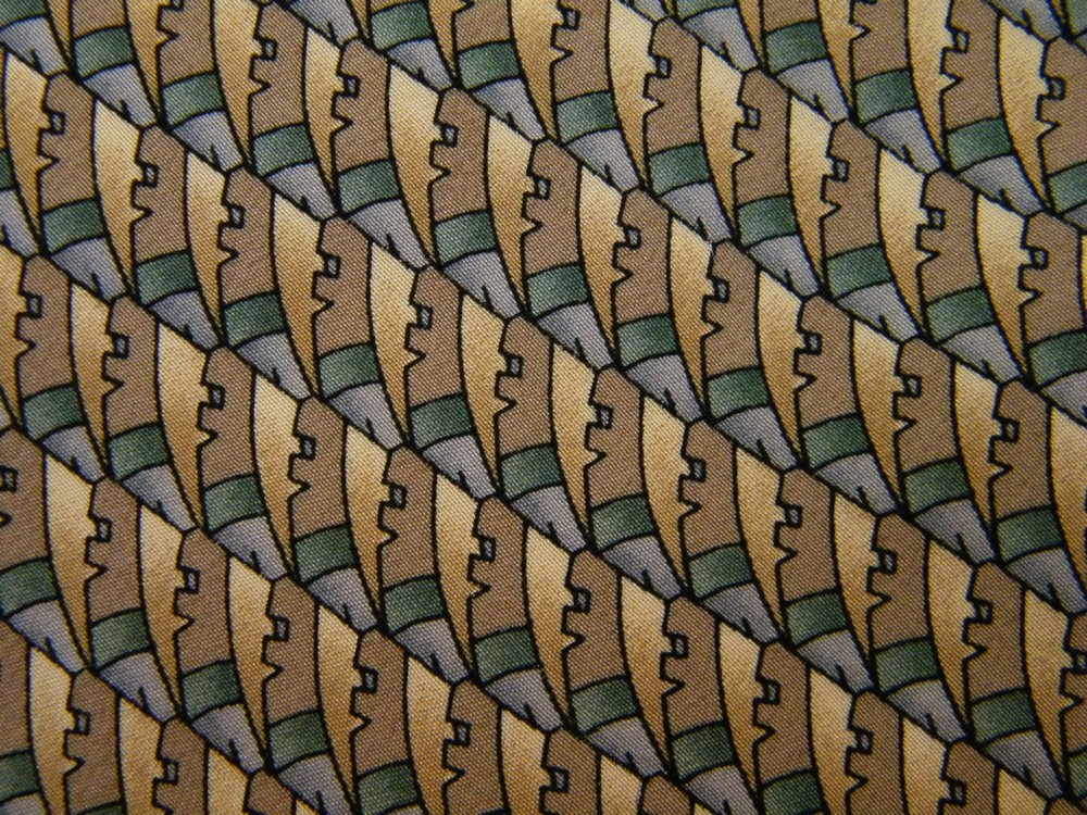 COCKTAIL COLLECTION VODKA SEEN UNDER MICROSCOPE TAN GRN BARTENDER SILK NECK TIE