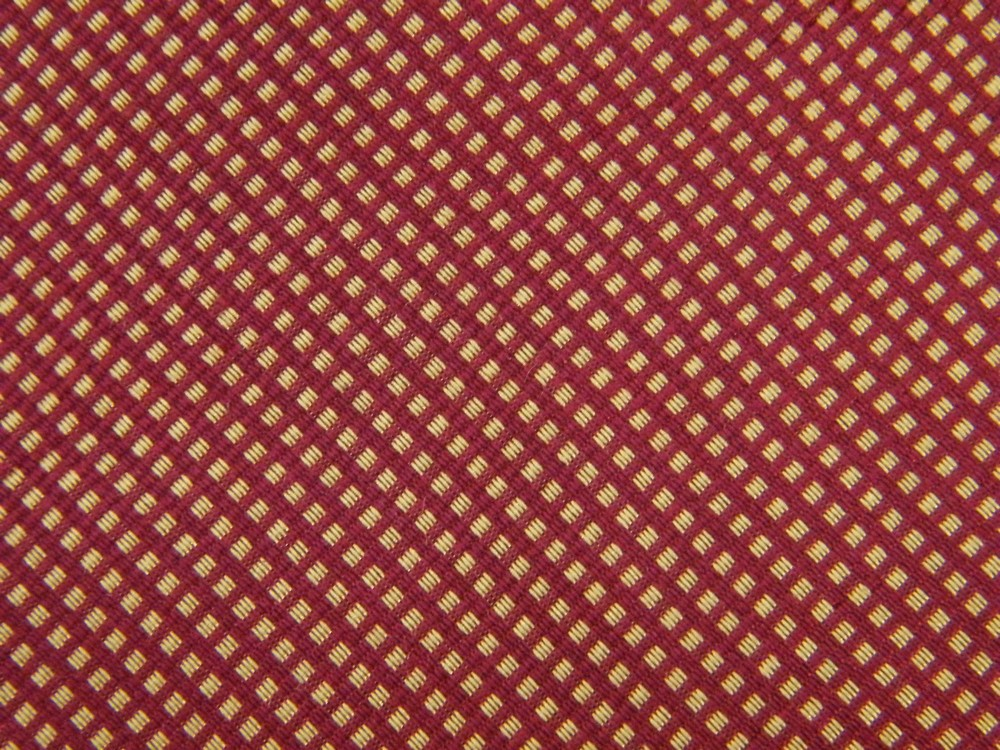 BROOKS BROTHERS SMALL SQUARE DOTS STRIPE DARK RED GOLD SILK NECK TIE NECKTIE