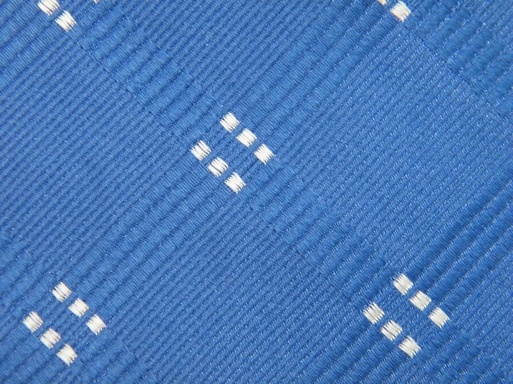 NEW JOSEPH & LYMAN CHECKER STRIPED DASHES ROYAL BLUE WHITE SILK NECK TIE NECKTIE