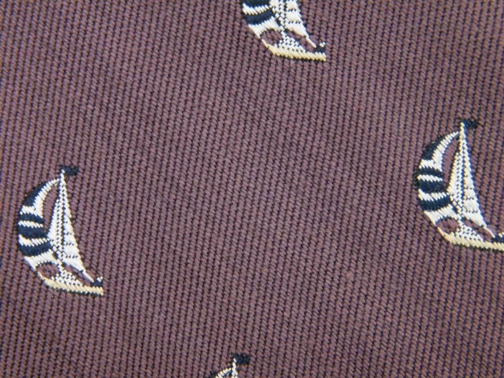 ROBERT TALBOTT SAILBOAT SAILING BOAT NAUTICAL PURPLE SILK COTTON TIE NECKTIE