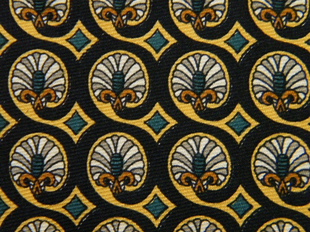 BURBERRYS ORNATE FAN ART NOUVEAU BLACK GREEN BROWN SILK NECK TIE NECKTIE