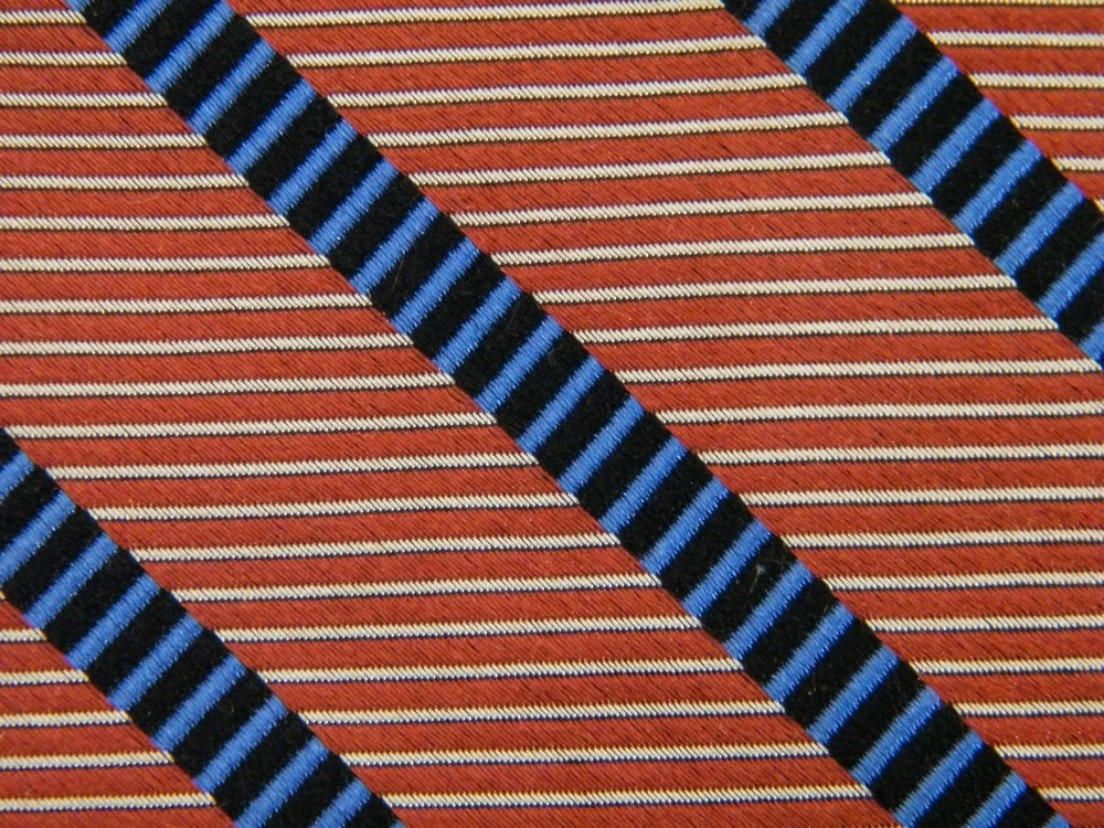 JOSEPH A BANK REPP STRIPE BROWN BLUE WHITE BLACK SILK NECK TIE NECKTIE