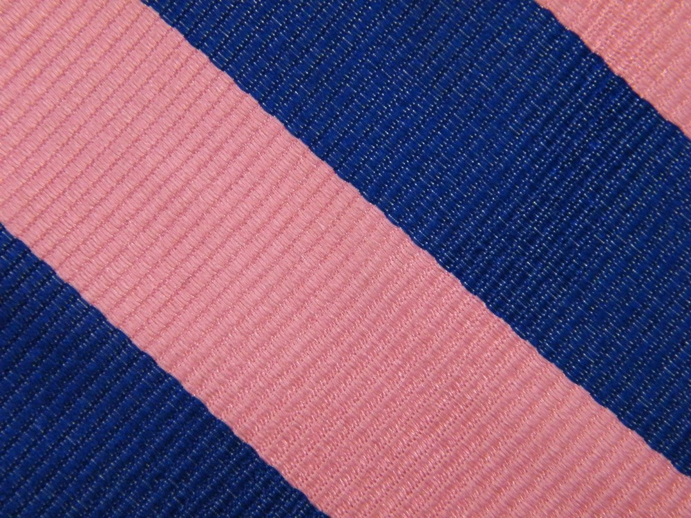 J CREW BLOCK STRIPE PINK ROYAL BLUE REPP RIBBED SILK NECK TIE NECKTIE