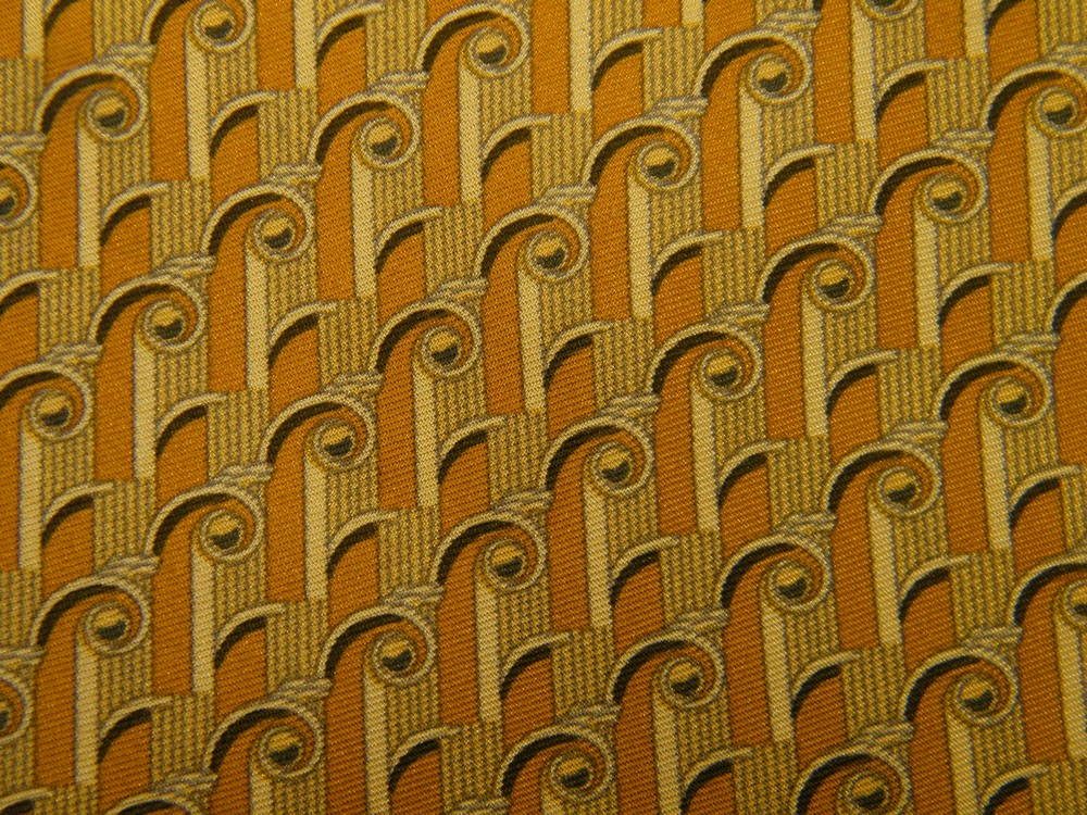 RICHEL ROYAL ROMAN COLUMNS ART NOUVEAU BROWN GOLD SILK NECK TIE NECKTIE