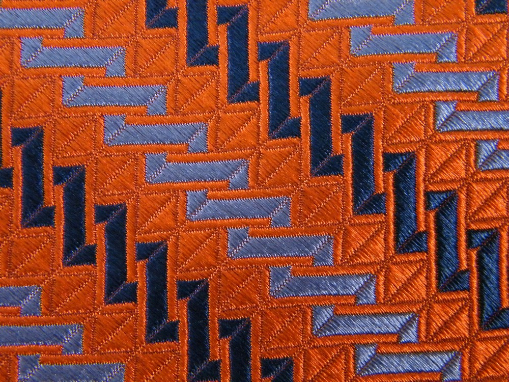JOSEPH A BANK STRIPE ORANGE NAVY SKY BLUE JACQUARD SILK NECK TIE NECKTIE