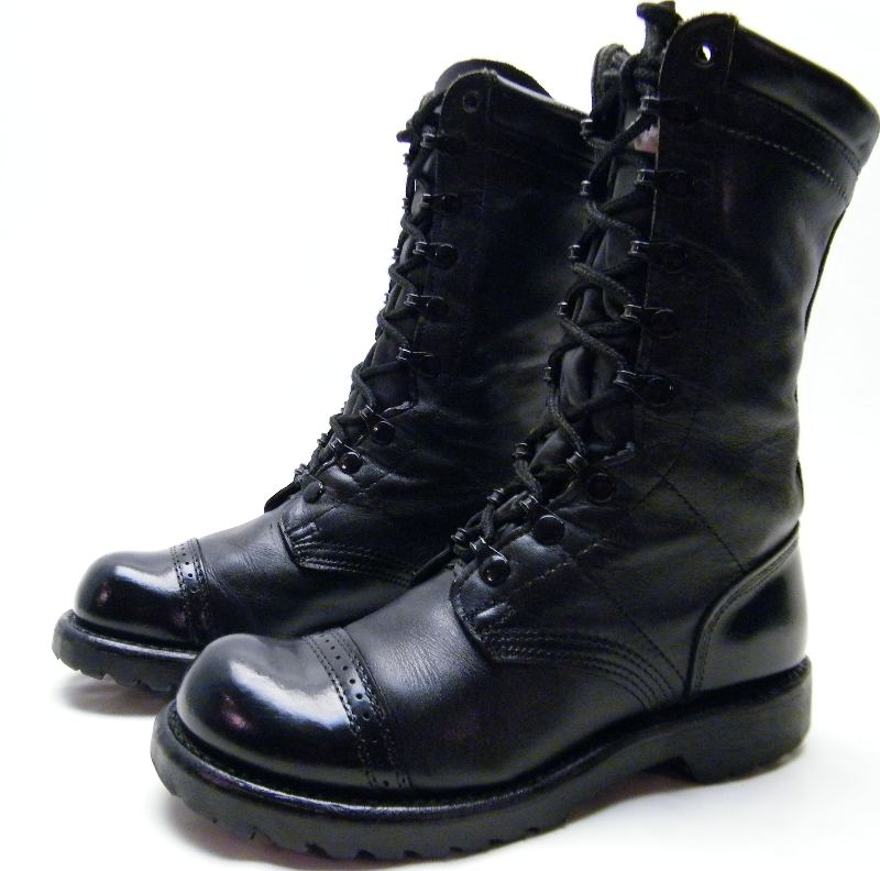 womens corcoran paratrooper blk leather combat field army