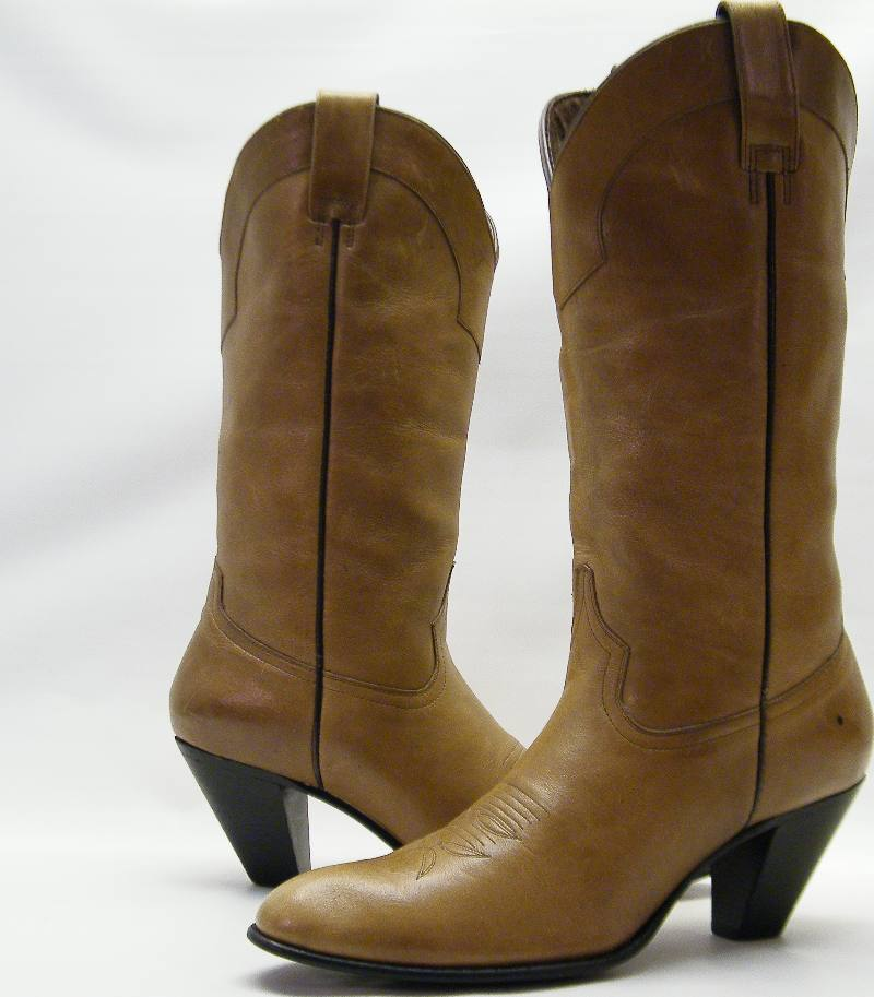 Womens Dan Post Tan Leather High Heel Dress Cowboy Western